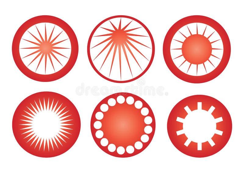 Ikony Słońca Retro Wektor Obraz Royalty Free