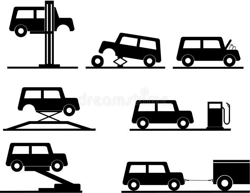 ikony samochodowa naprawa ilustracja wektor
