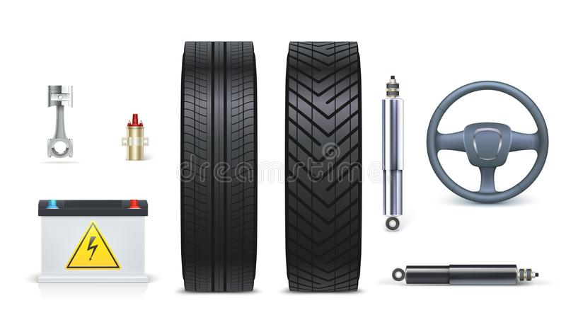 Ikony Samochodowe części dla garażu, auto samochód usługa Różnorodne samochodowe części i akcesoria odizolowywający na białym tle royalty ilustracja