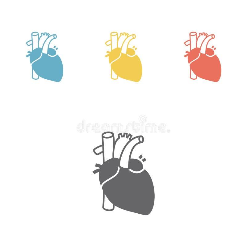 Ikony serca organ ilustracji