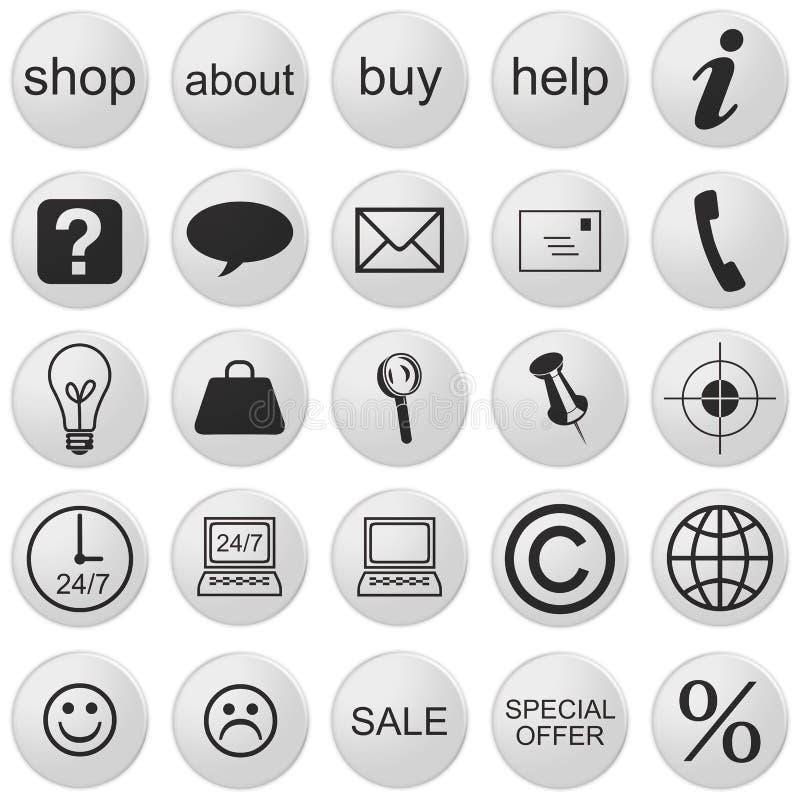 Ikony Sklepu internetowego 3d: Ustaw na 25 przycisków, czarno-białe ilustracji