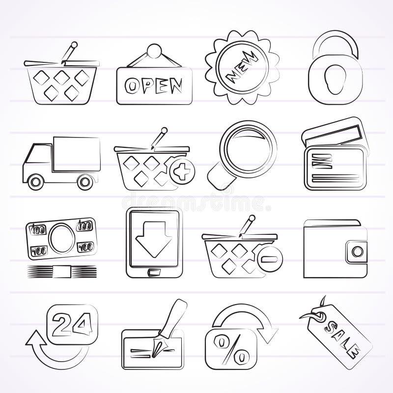 ikony sprzedawać detalicznie zakupy royalty ilustracja