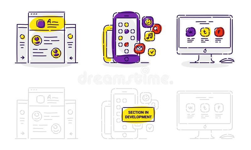 Ikony strona internetowa, zastosowanie i monitor w wektorze na białym bac, ilustracja wektor