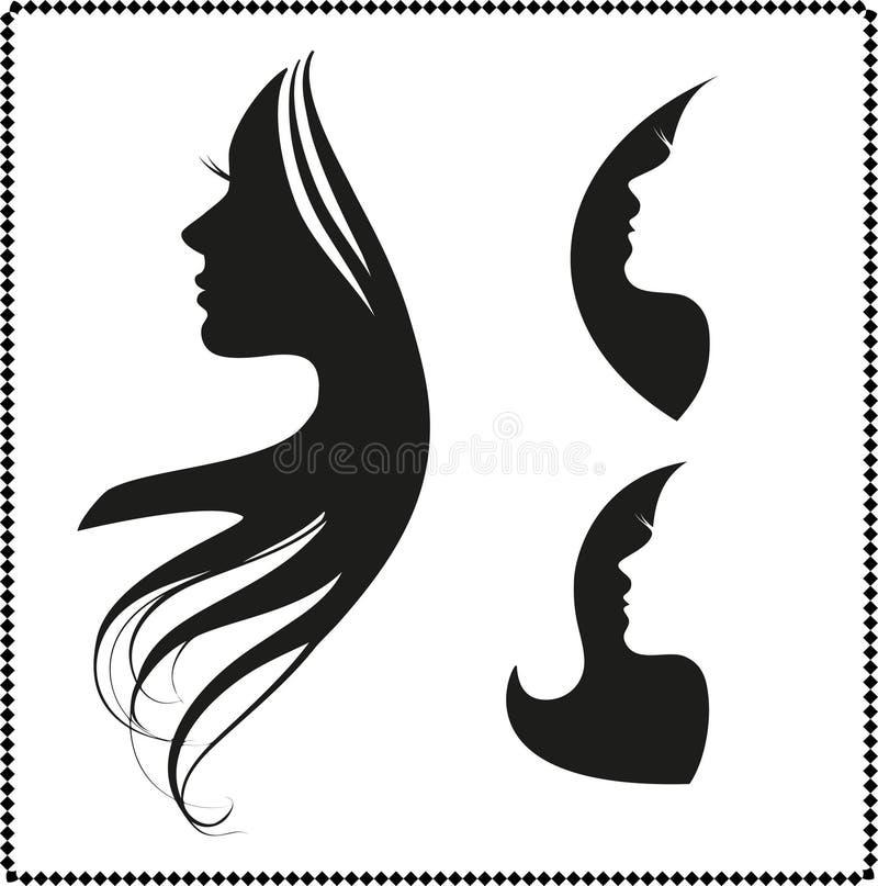 Ikony sylwetka dziewczyna z długie włosy royalty ilustracja