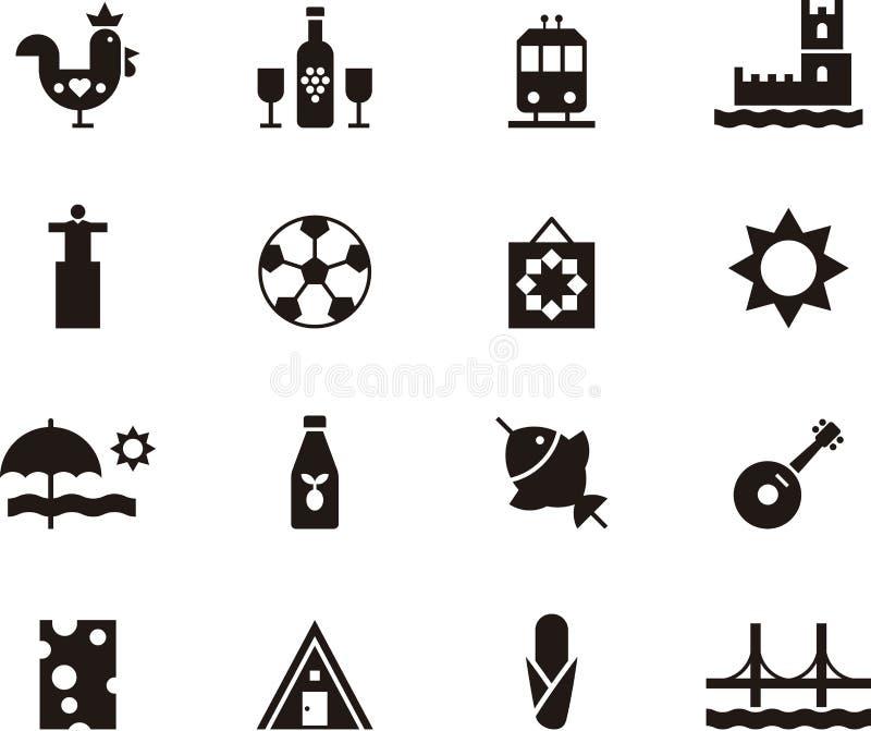Ikony symbolizuje Portugalia i Lisbon ilustracja wektor