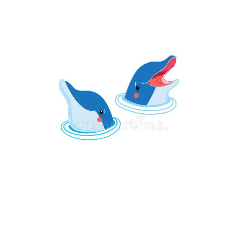 Ikony szczęśliwi delfinów portrety royalty ilustracja