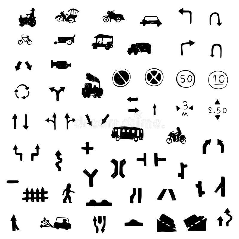 Ikony szyldowy wektorowy ustawiający ostrzeżenia i drogowego znaka wolnej ręki rysunek ilustracja wektor