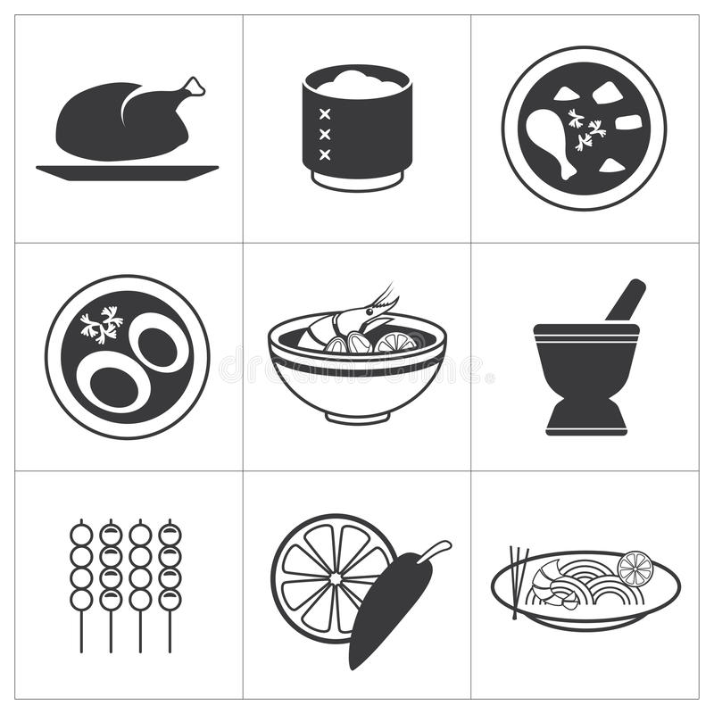 Ikony tajlandzki jedzenie ilustracja wektor