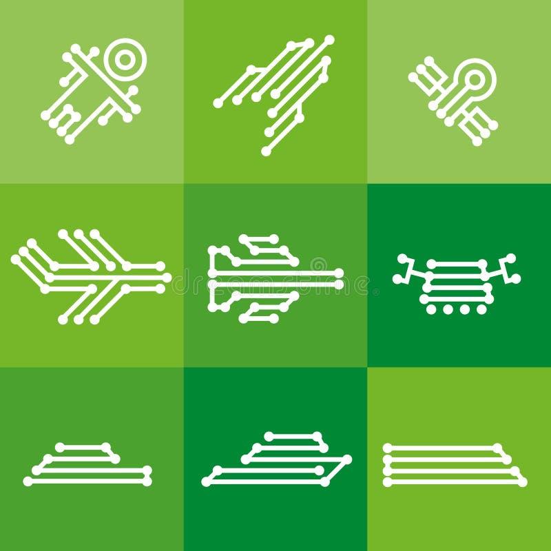 Ikony technologii cyfrowej elektronika technik na zielonych kwadratach royalty ilustracja