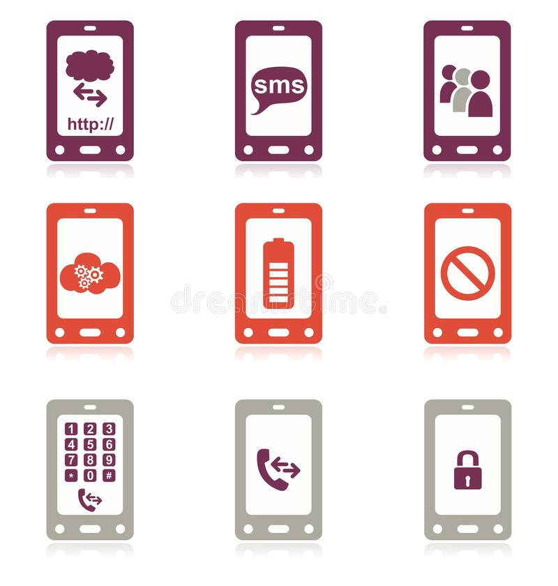 ikony telefon komórkowy set royalty ilustracja