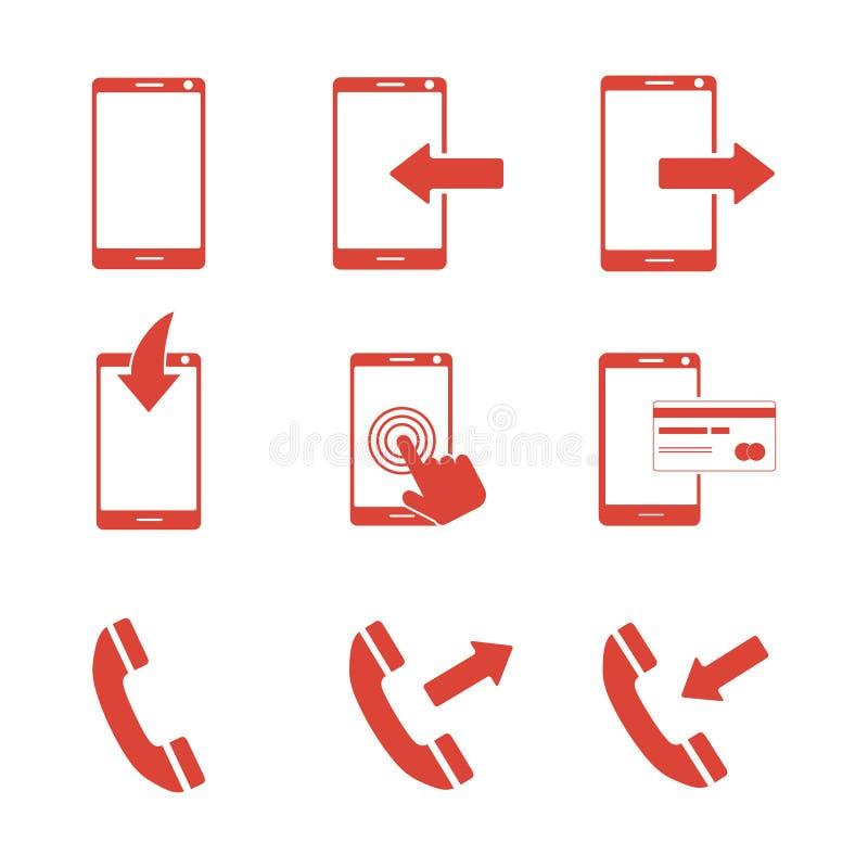 ikony telefonu setu majchery trzy ilustracja wektor