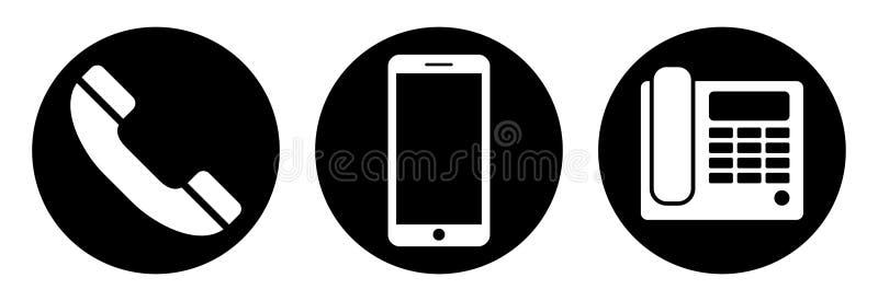 ikony telefonu setu majchery trzy Odosobneni telefoniczni simbols na białym tle royalty ilustracja