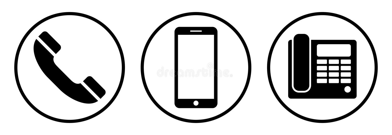 ikony telefonu setu majchery trzy Odosobneni telefoniczni simbols na białym tle ilustracji
