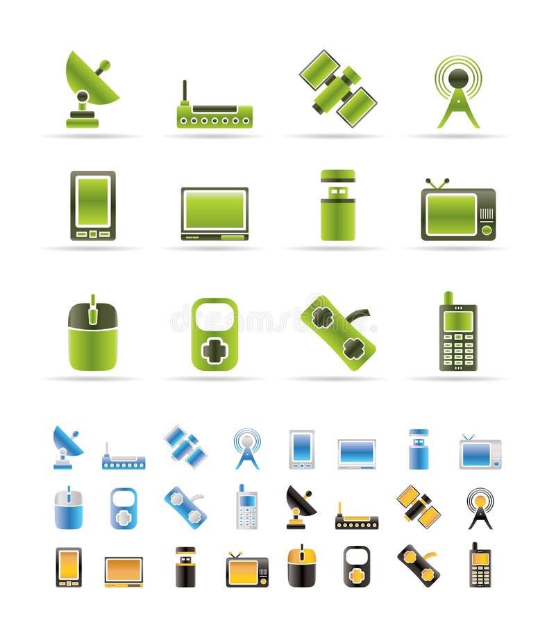 ikony teletechniczna technologia ilustracja wektor