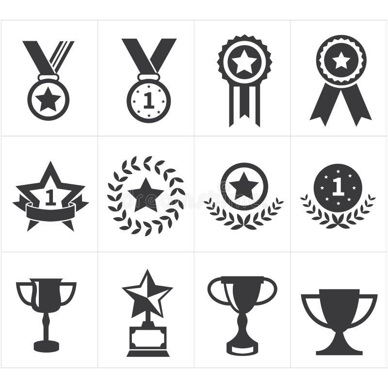 Ikony trofeum nagroda royalty ilustracja