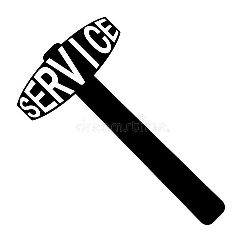 Ikony usługowego centrum logo, wektoru znak, młoteczkowa symbolu teksta usługa ilustracji
