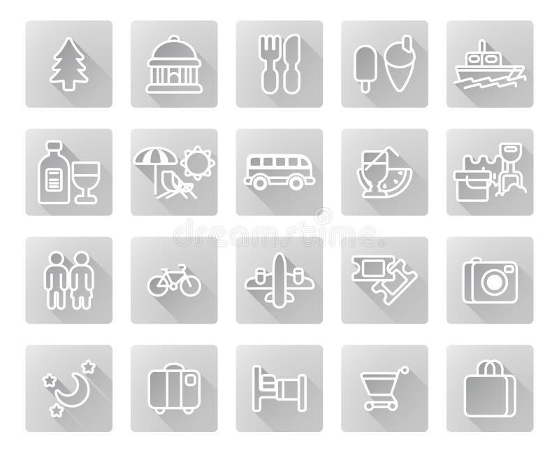 ikony ustalona turystyki podróż ilustracja wektor