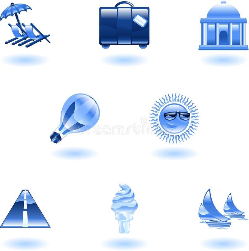 ikony ustalona turystyki podróż royalty ilustracja
