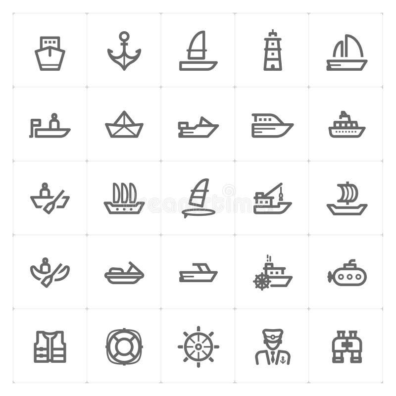 Ikony ustalonego †'łodzi i statku konturu uderzenie ilustracja wektor