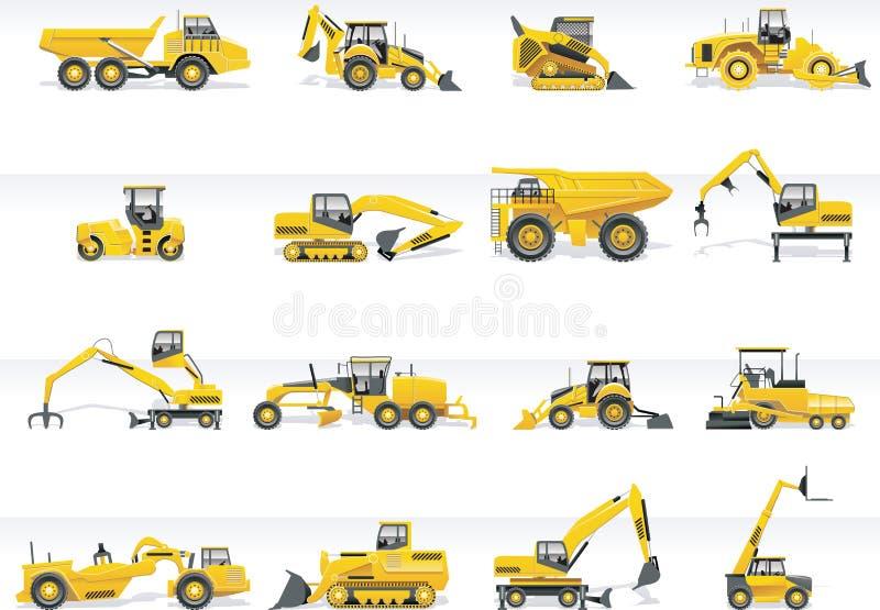 ikony ustalony ciągników transportu wektor royalty ilustracja