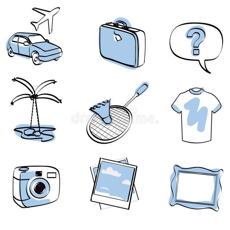 ikony ustalony podróży wektor ilustracji