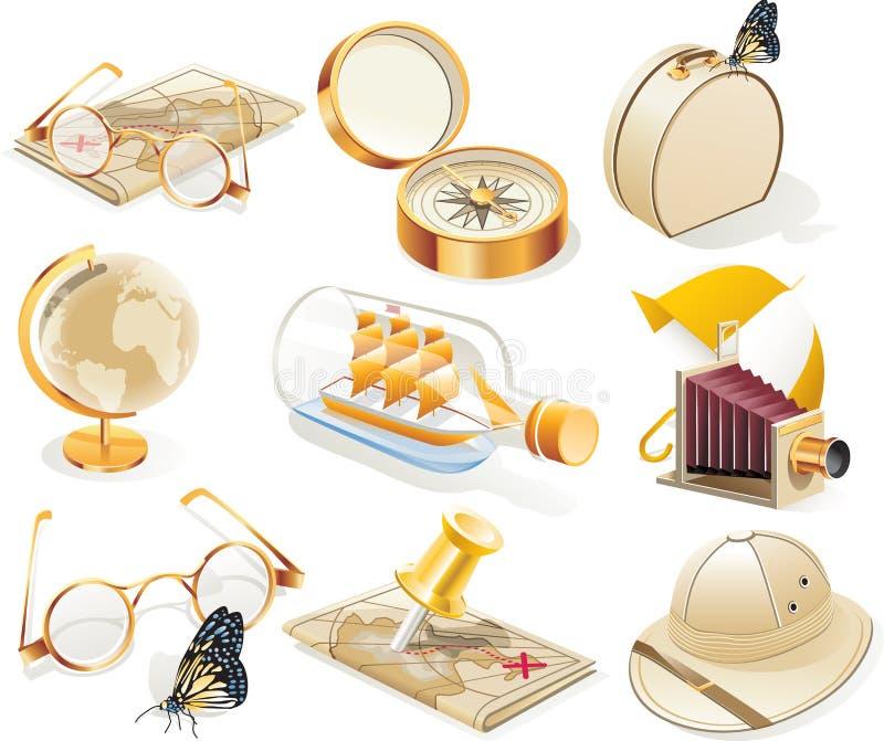 ikony ustalony podróży wektoru rocznik ilustracja wektor