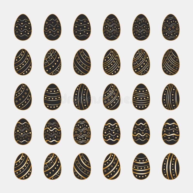 Ikony ustawiać czarni Wielkanocni jajka ilustracji