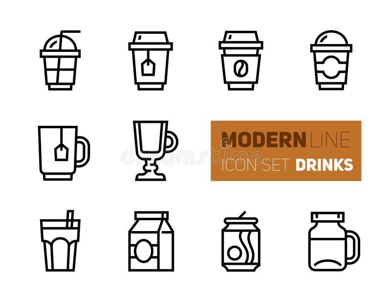 Ikony ustawiać kawa i herbata - takeaway filiżanki ilustracja wektor