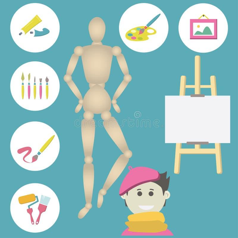 Ikony ustawiać kolorowe sztuk dostawy dla malować ilustracja wektor