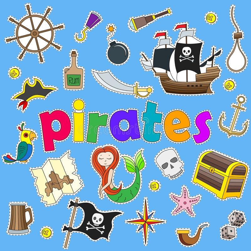 Ikony ustawiać na temacie piractwo i ikon łaty na błękitnym tle Morskie, malować, royalty ilustracja