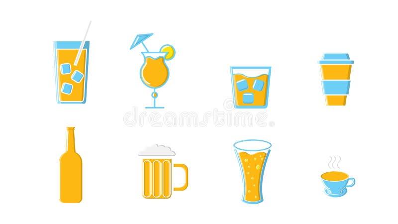 Ikony ustawiać napój butelki i kubki alkoholiczne i bezalkoholowe herbaciani kawowi piwni koktajle i whisky ajerówka z lodem ilustracji