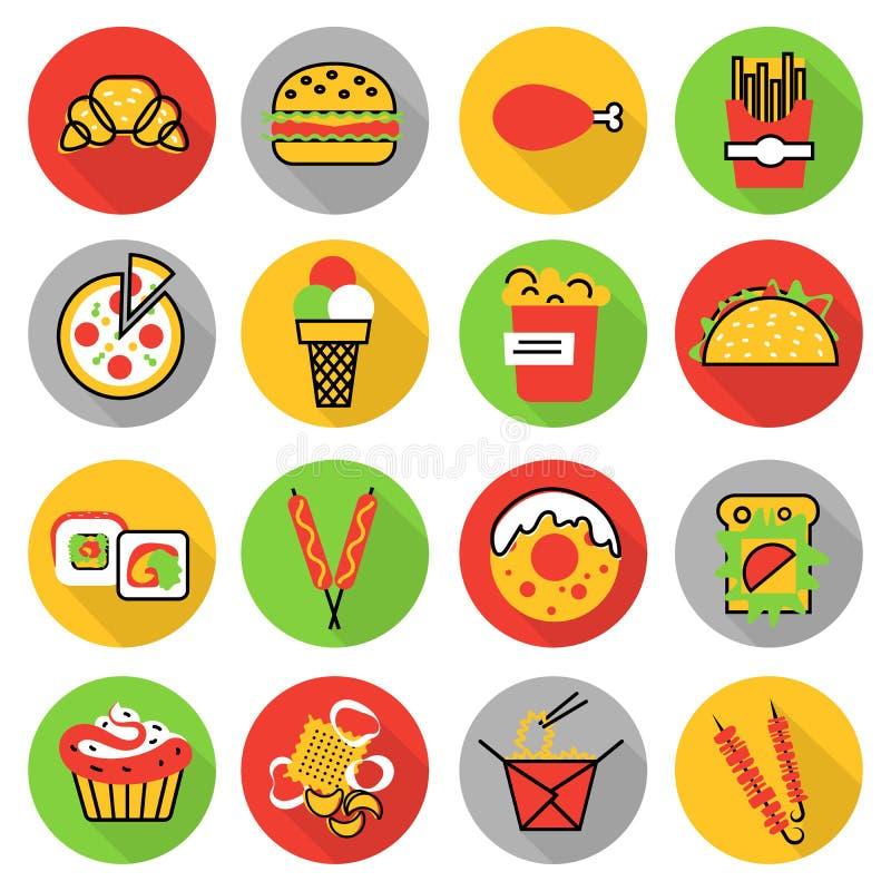 Ikony ustawiać niezdrowy fast food i przekąski ilustracji