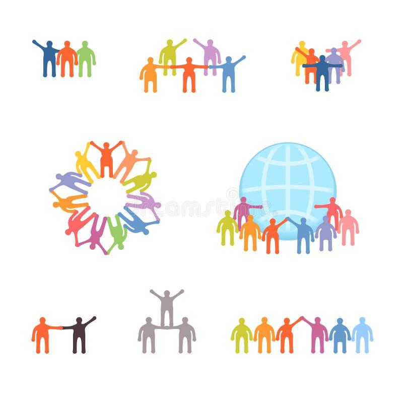 Ikony ustawiać pomyślna praca zespołowa i współpraca ilustracja wektor