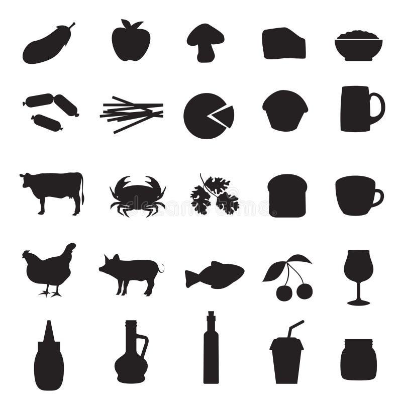 Ikony ustawiać różny typ jedzenie i napoje ilustracja wektor