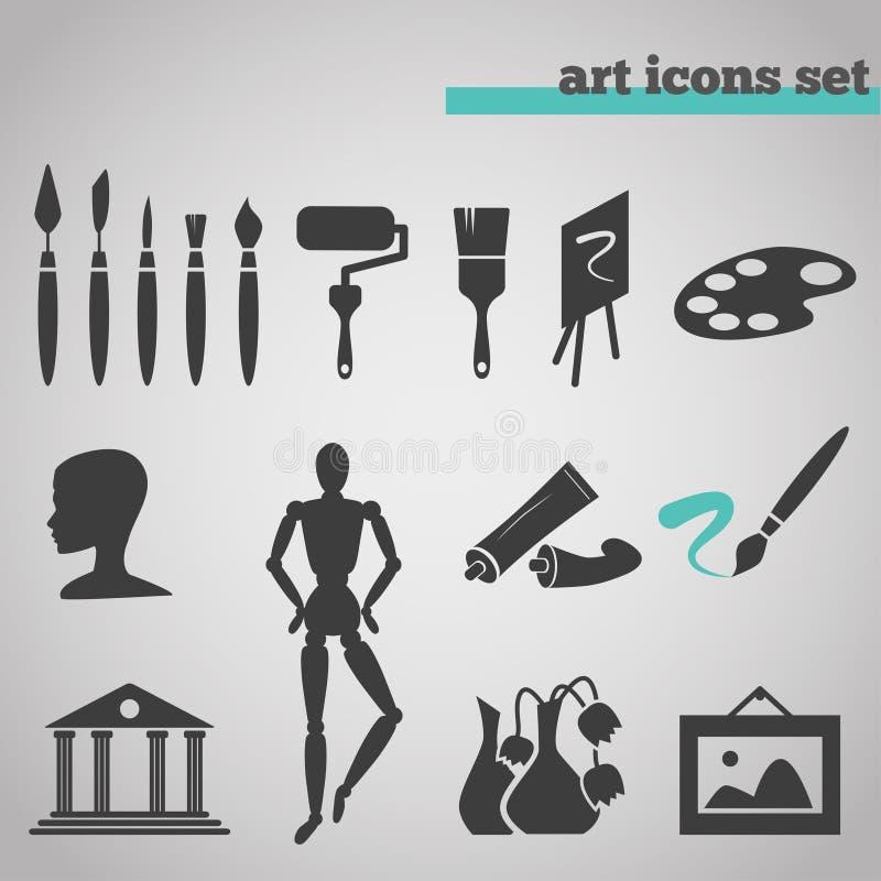Ikony ustawiać sztuk dostawy dla malować ilustracji