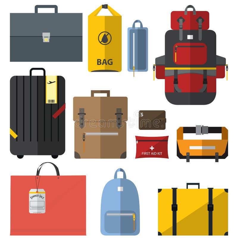Ikony ustawiać torby i walizki w płaskim projekcie ilustracji