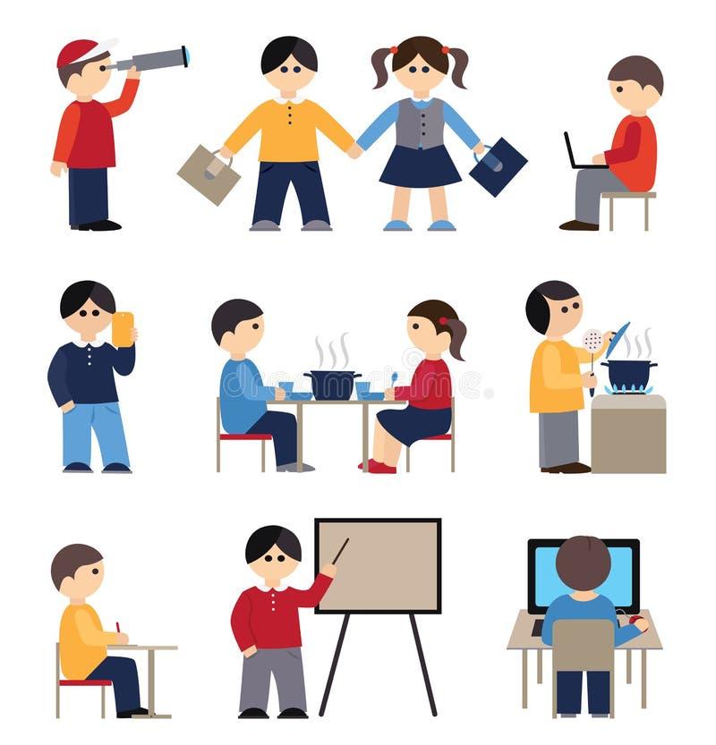 Ikony ustawiać z ludźmi i uczniami ilustracji
