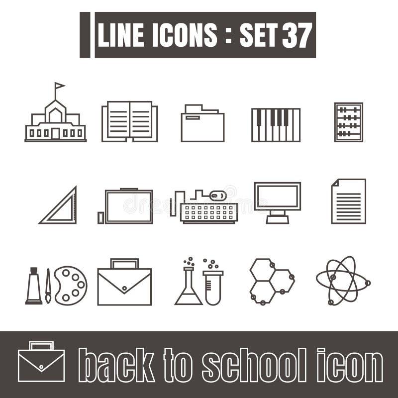 Ikony ustawiać z powrotem szkoły linii czerni projekta Nowożytni Stylowi elementy ilustracji