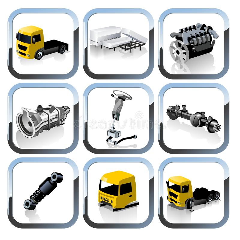 ikony ustawiają części zapasowych ciężarówki wektor ilustracja wektor