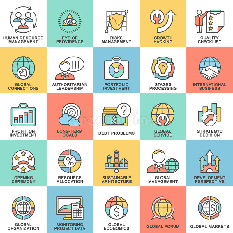 Ikony ustawiają globalnego biznes, ekonomie i marketing, ilustracji