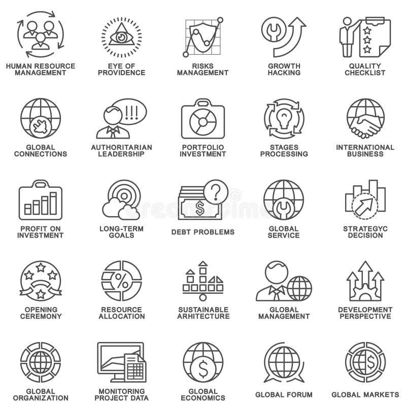 Ikony ustawiają globalnego biznes, ekonomie i marketing, royalty ilustracja