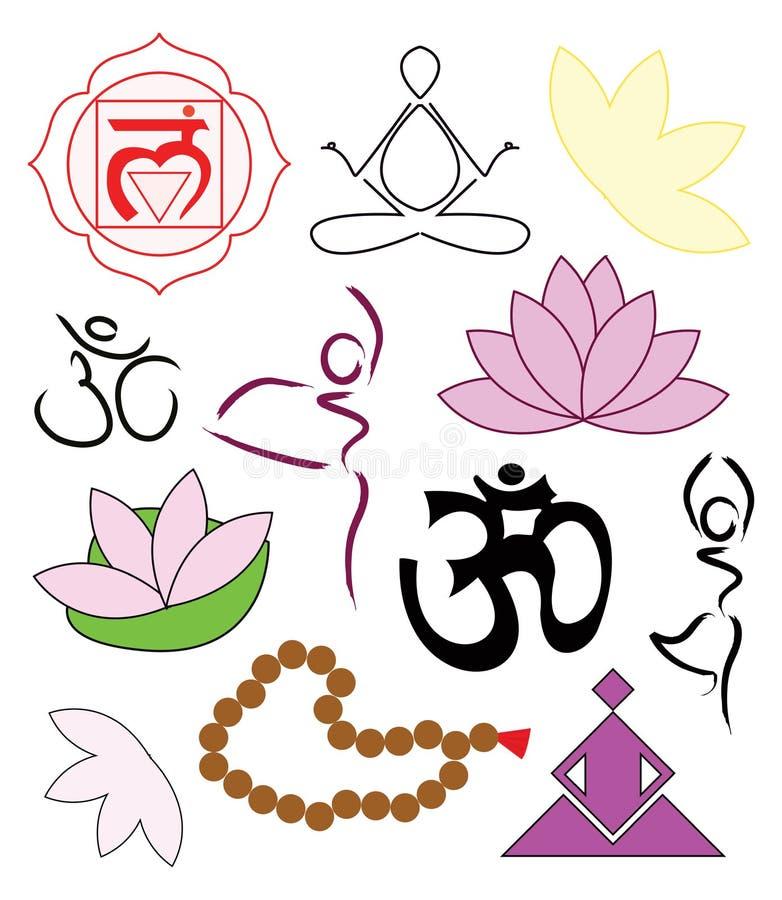 ikony ustawiają joga ilustracja wektor