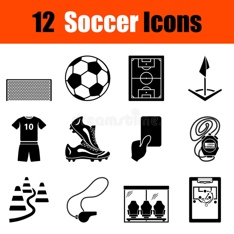 ikony ustawiają piłkę nożną royalty ilustracja