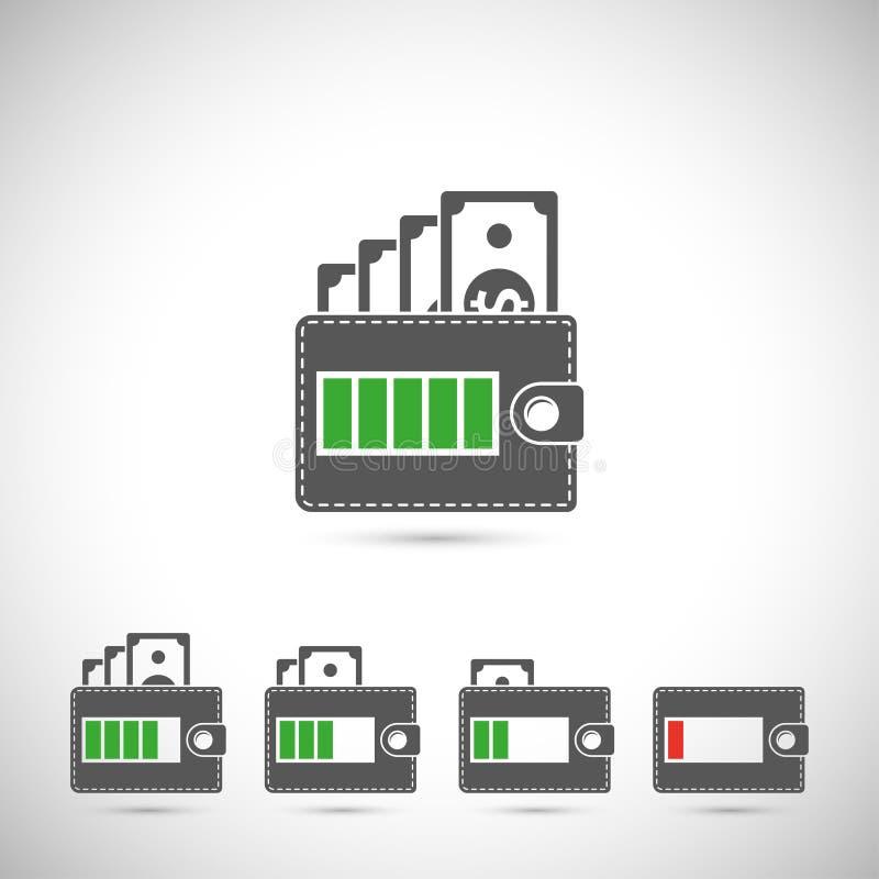 ikony ustawiają portfel ilustracja wektor