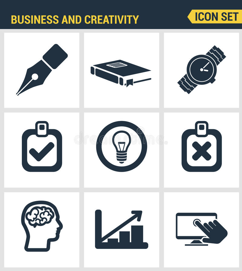 Ikony ustawiają premii ilość kreatywnie rozwoju biznesu proces, nowożytny biurowy obieg i twórczości rozwiązanie, Nowożytny picto royalty ilustracja
