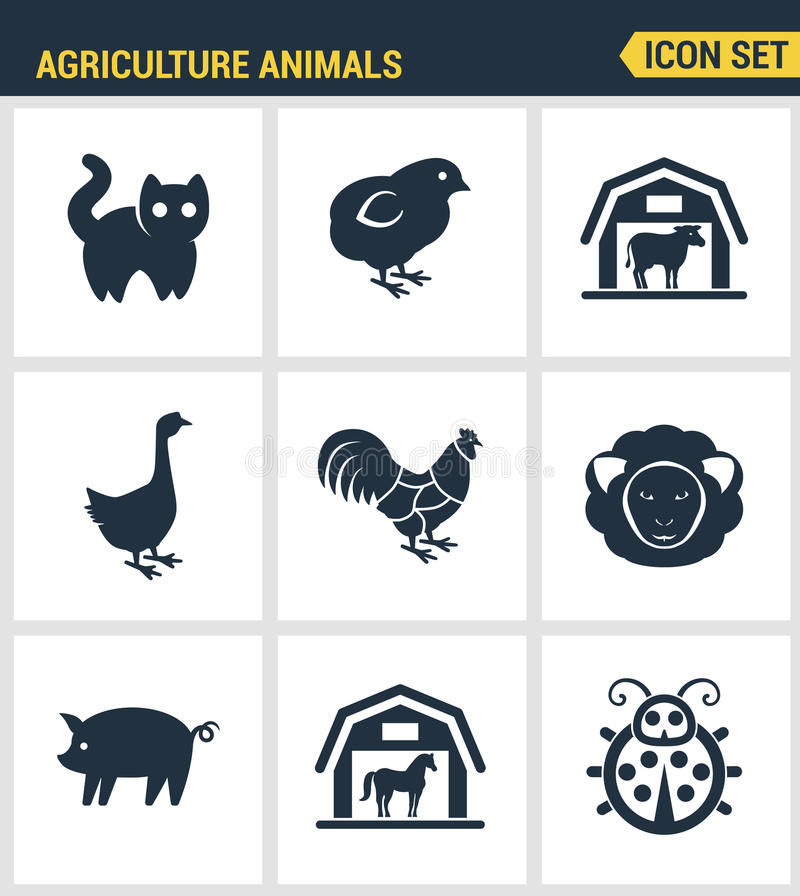 Ikony ustawiają premii ilość rolnictw zwierząt stajnia uprawia ziemię zwierzęcego gospodarstwa rolnego ikony set Nowożytnego pikt ilustracji