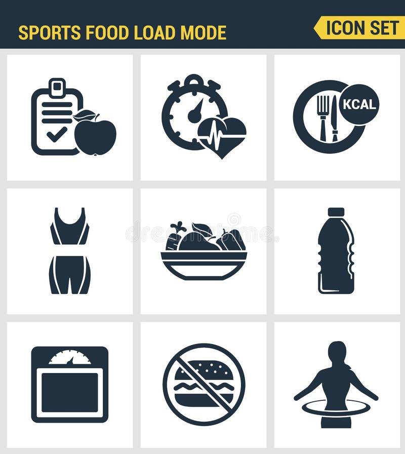Ikony ustawiają premii ilość sprawności fizycznej ikona Sporta obciążeniowego trybu oparzenie karmowych kalorii zdrowa dieta Nowo royalty ilustracja