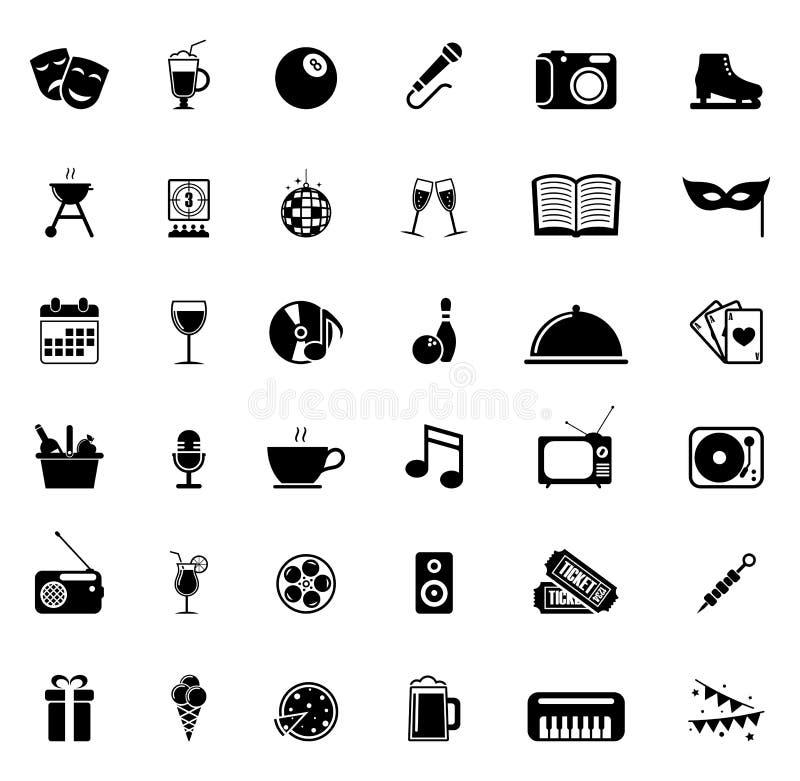 Download Ikony ustawiają rozrywkę ilustracja wektor. Ilustracja złożonej z napój - 53781791