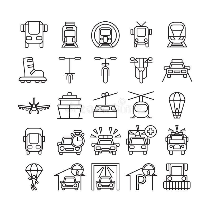 ikony ustawiają transport ilustracja wektor
