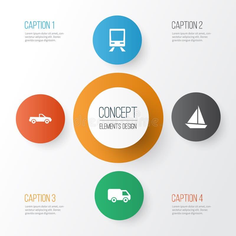 ikony ustawiają transport Kolekcja kabriolet, kolej, jacht I Inni elementy, Także Zawiera symbole Tak jak ilustracji